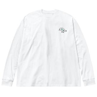鳥と魚のねこぜちゃん Big silhouette long sleeve T-shirts