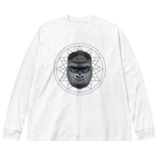 Polygonal Animal Face【06 Gorilla】 Big silhouette long sleeve T-shirts