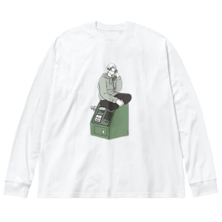 公衆電話。 Big silhouette long sleeve T-shirts
