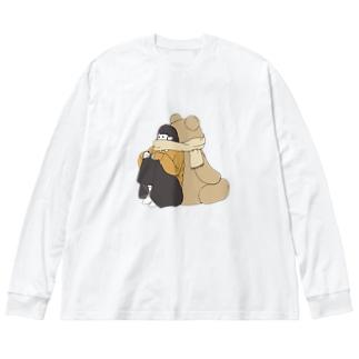 くまマフラー。 Big silhouette long sleeve T-shirts