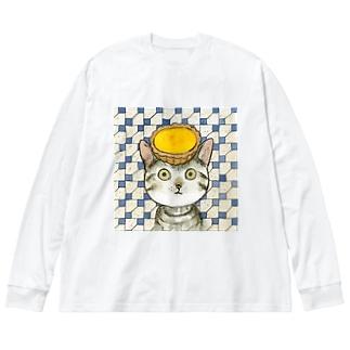 エッグタルト猫 Big Silhouette Long Sleeve T-Shirt