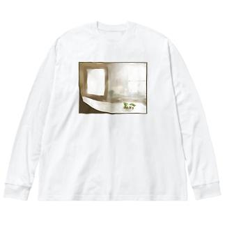 檸檬の花の絵 Big silhouette long sleeve T-shirts