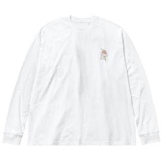 紐カミカミののたん(白ポメラニアン) Big silhouette long sleeve T-shirts