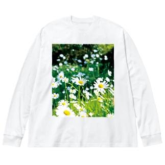 癒しの風景(シャスタデイジー) Big silhouette long sleeve T-shirts