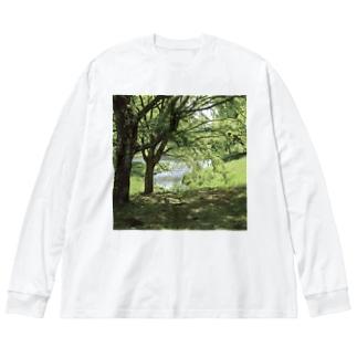 癒しの風景(樹木) Big silhouette long sleeve T-shirts