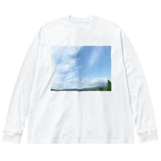 癒しの風景(空と雲) Big silhouette long sleeve T-shirts
