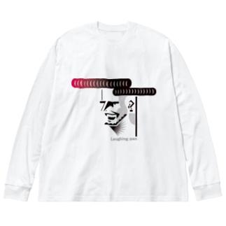 リーゼントの男 Big silhouette long sleeve T-shirts