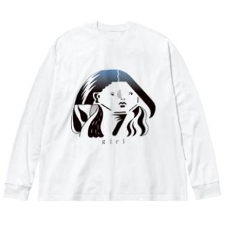 涼しい目の女2 Big silhouette long sleeve T-shirts