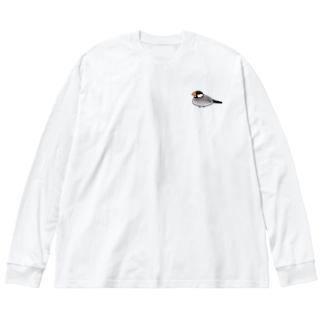 桜文鳥のぶんちゃん Big silhouette long sleeve T-shirts