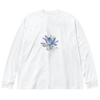 飾り花 Big silhouette long sleeve T-shirts