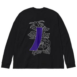 牡丹に青短 Big silhouette long sleeve T-shirts
