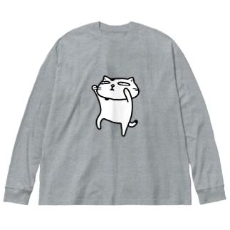 【のびネコねこハウス】ぶちょう Big silhouette long sleeve T-shirts