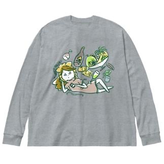 ぐうたらキャバ嬢 Big silhouette long sleeve T-shirts