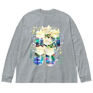 乾杯!!! Big silhouette long sleeve T-shirts