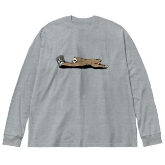 本と、なまけもの(かげなし) Big silhouette long sleeve T-shirts