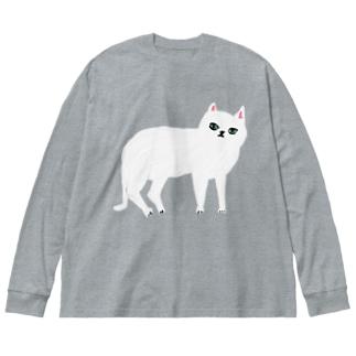 しろねこ Big silhouette long sleeve T-shirts