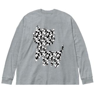 SCP-040-JP ねこですよろしくおねがいします Big silhouette long sleeve T-shirts
