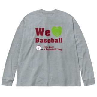We love Baseball(レッド) Big silhouette long sleeve T-shirts