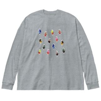 うさダンス総柄 Big silhouette long sleeve T-shirts