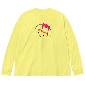 ハッピーちゃん Big silhouette long sleeve T-shirts