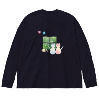 ねこと蝶 Big silhouette long sleeve T-shirts