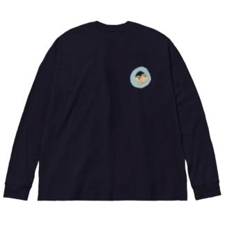 キンカは液体 ブルー Big silhouette long sleeve T-shirts