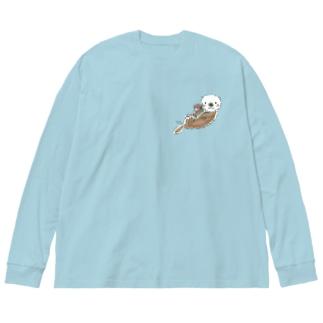 ラッコの親子 Big silhouette long sleeve T-shirts
