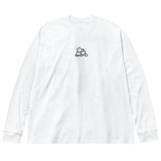 ぺしょ(ぶらっく) Big silhouette long sleeve T-shirts