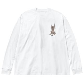 飛び付き猫 Big silhouette long sleeve T-shirts