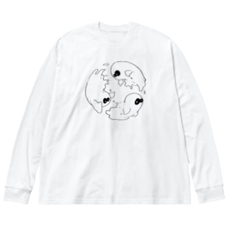 three ghosts Big silhouette long sleeve T-shirts