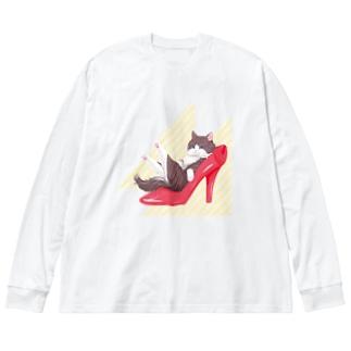 Heel cat Big silhouette long sleeve T-shirts