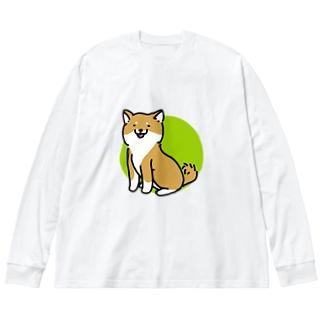 しばいぬ(茶) Big silhouette long sleeve T-shirts
