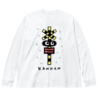 踏切カンカン  Big silhouette long sleeve T-shirts