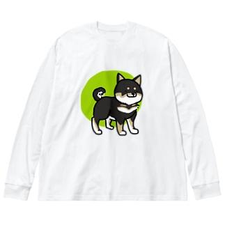 しばいぬ(黒) Big silhouette long sleeve T-shirts