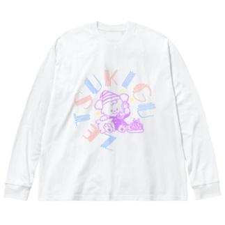 パステルてれふぉん Big silhouette long sleeve T-shirts