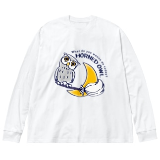 CT72 夜の誘惑 HORNED OWL_A Big silhouette long sleeve T-shirts