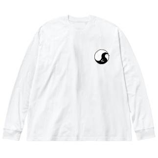 まがたまペンギン Big silhouette long sleeve T-shirts