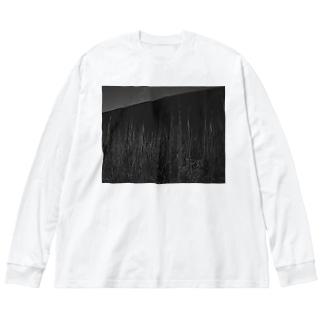 ボタ山と枯れ薄 Big silhouette long sleeve T-shirts