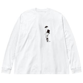 MOJIRANKUJIRAN 傘のひと Big silhouette long sleeve T-shirts