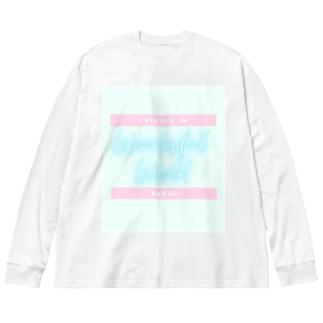 素晴らしき世界Tシャツ Big silhouette long sleeve T-shirts