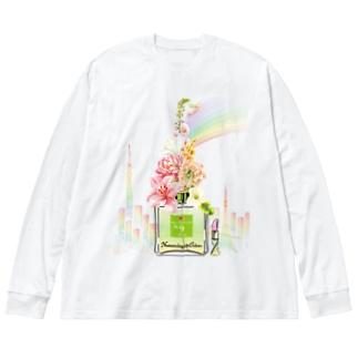 アンドアイデザイン 数秘&カラー🄬オマージュボトルNo9&OLIVE Big silhouette long sleeve T-shirts