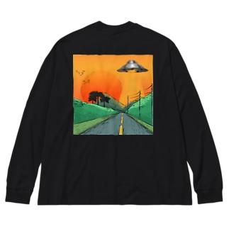 UFO ロンT Big silhouette long sleeve T-shirts