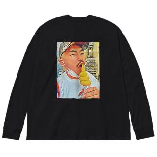 96ちゃん2 Big silhouette long sleeve T-shirts