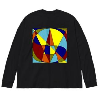 幾何学模様ロゴ Big silhouette long sleeve T-shirts