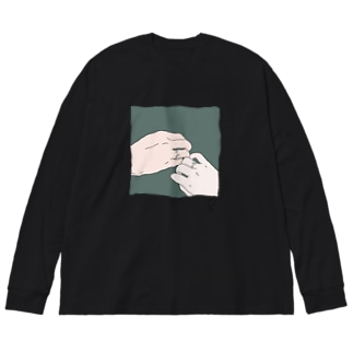 マーガレットのタトゥー Big silhouette long sleeve T-shirts