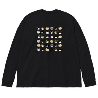 にゃんこオールスターズ顔!series Big silhouette long sleeve T-shirts