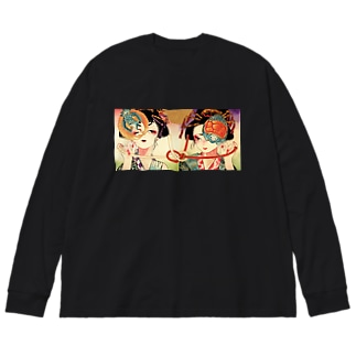 鶴亀さん Big silhouette long sleeve T-shirts