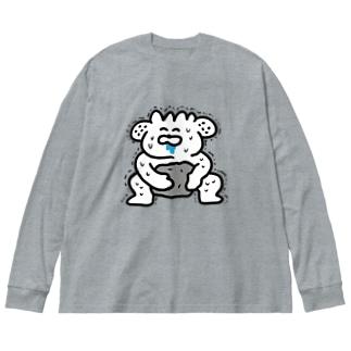 28番商店街の力自慢 Big silhouette long sleeve T-shirts