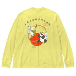 中華風大熊猫 Big silhouette long sleeve T-shirts