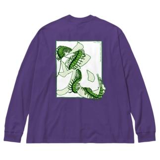 【 RabiLant 】 Rabbit × centipede_白ベース Big silhouette long sleeve T-shirts